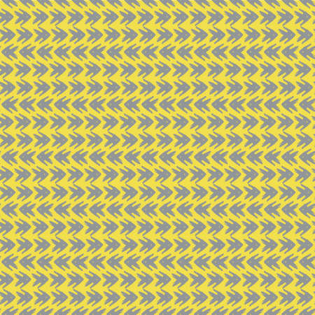Vector yellow grey tribal style arrow seamless pattern background. Painterly chevrons in horizontal rows weave effect backdrop. Hand drawn design. Dense wicker effect all over print for packaging Vector Illustration