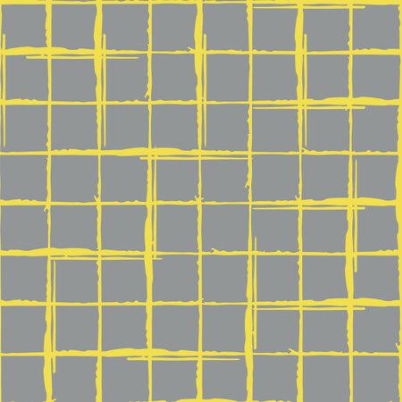 Grunge line vector seamless grid pattern background. Organic irregular lines.Painterly ink brush stroke style weave backdrop. Criss cross burlap effect geometric design.Yellow grey all over print Vektorgrafik