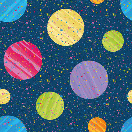 Holi festival inspired paint circles seamless vector pattern background. Irregular tropical color painterly spatter design on speckled confetti dark blue textured backdrop. Fun repeat for summer