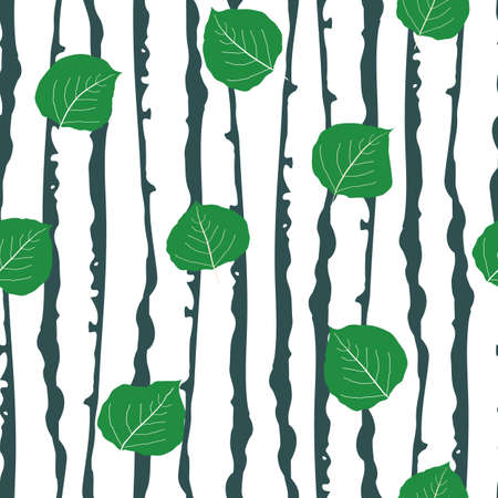 Green aspen leaf forest seamless vector pattern background. Beautiful hand drawn leaves in fall colors on backdrop of sea green and white tree bark. Woods in painterly style. Elegant all over print. 矢量图像