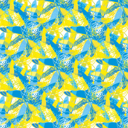 Abstract starfish seamless vector pattern background. Painterly batik dye effect sea stars. Naive style blue yellow backdrop with hand drawn ocean creatures. Blended layered texture all over print