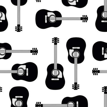 Acoustic guitar vector seamless pattern background. Black and white musical string instrument backdrop. High contrast monochrome design. Geometric repeat for music lesson or festival concept