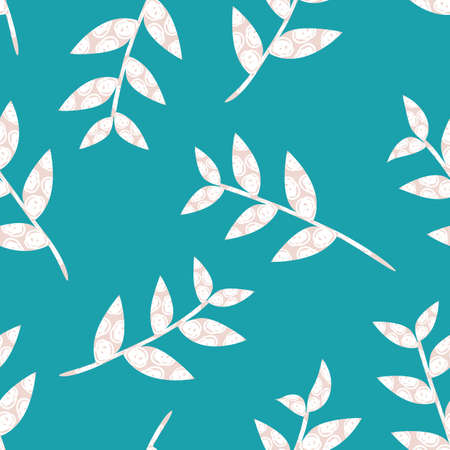 Mono print style scattered leaf stems seamless vector pattern background. Lino cut effect textured scattered foliage on aqua blue backdrop. Minimal modern repeat. All over print for nature concept.