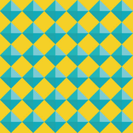 Vector 3D pyramid shaped stud seamless pattern background. Blue shaded studded diamond triangles on yellow backdrop. Vibrant geometric repeat. Modern design. Fun all over print for sports, summer