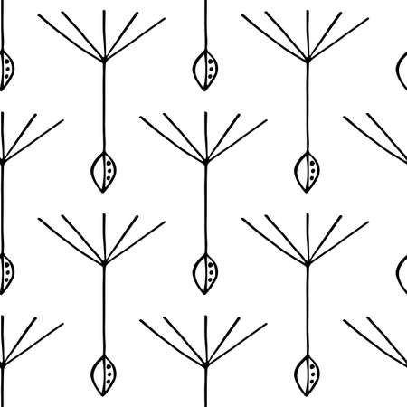Dandelion seed seamless vector pattern background. Backdrop of abstract floating herbacious flower seeds black and white backdrop. Stylised hand drawn line art design. Monochrome botanical repeat