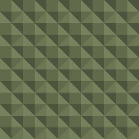 Vector 3D pyramid shaped stud seamless pattern background. Elegant studded backdrop with shaded triangles. Monochrome sage green repeat. Modern tactile texture design. Geometric all over print