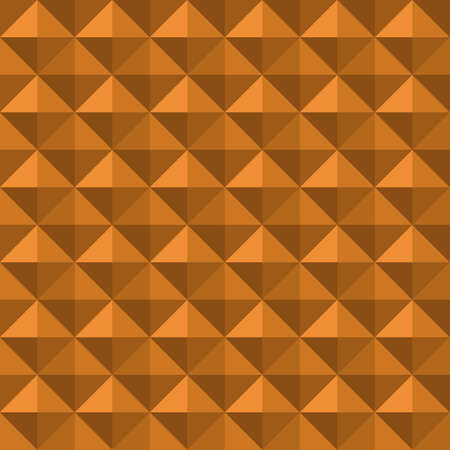 Vector 3D pyramid shaped stud seamless pattern background. Elegant studded backdrop with shaded triangles. Monochrome ochre repeat. Modern tactile texture design. Geometric all over print for business