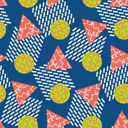 Memphis style geometric shapes vector abstract seamless pattern background. Waffle style squares, triangles, circles on blue backdrop. Summer color scribble illustration. Funky modern all over print