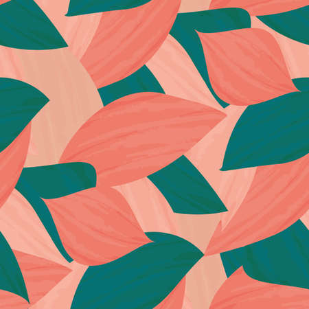 Painterly pink teal tropical leaves seamless vector pattern background. Texture backdrop with overlapping layered single leaf painted effect foliage.Botanical repeat design. Duotone all over print