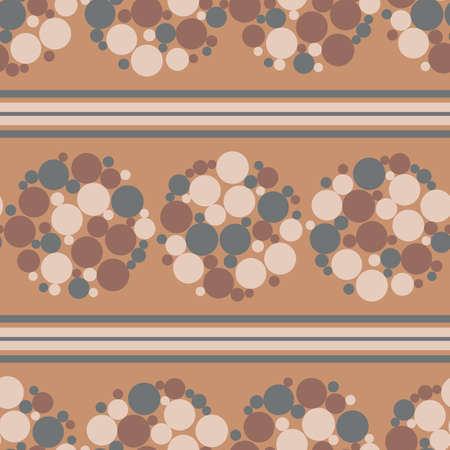 Abstract flower head bubble vector seamless pattern background. Circles within circular shapes and horizontal stripes backdrop. Monochrome terracotta brown geometric design.Repeat for wellness concept