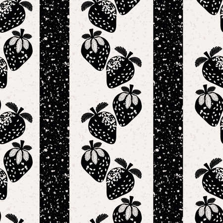 Strawberry linocut striped seamless vector pattern background. Alternating columns of stencil style berries and stripes on terrazzo textured backdrop.Monochrome aged effect. Repeat for vintage concept