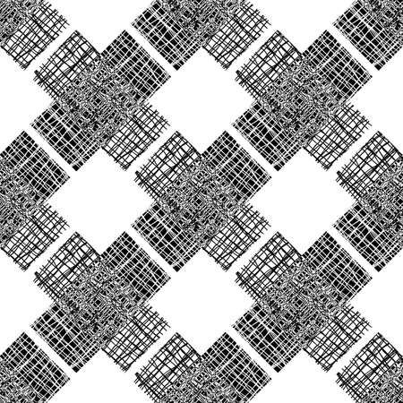 Irregular vector gauze weave effect cross seamless pattern background. Backdrop of black and white coarsely woven  aid shapes with spliced edges.Abstract Hessian fibre texture all over print. 免版税图像 - 168135491