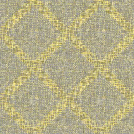 Vector burlap effect seamless pattern background. Yehessian fibre diamond tiles blended onto dense grey linen texture. Geometric woven poplin backdrop. Midcentury modern cotton weave repeat
