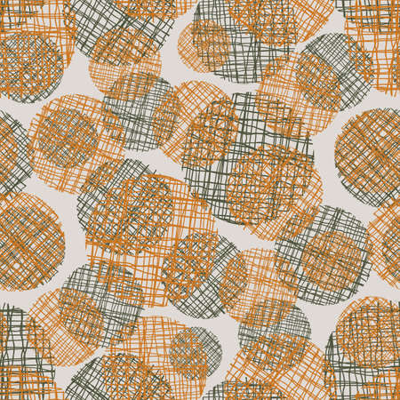 Irregular weave yarn vector circle seamless pattern background. Backdrop with small and large ochre brown and black circular woven shapes. Abstract midcentury modern hessian frayed fibre texture