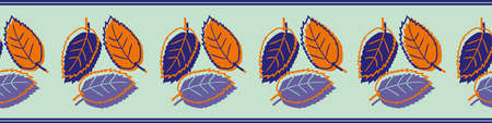 Elm leaf seamless vector border. Banner with groups of hand drawn purple orange leaves with offset silhouette color on light teal background. Botanical foliage design for ribbon, tape, edging, header
