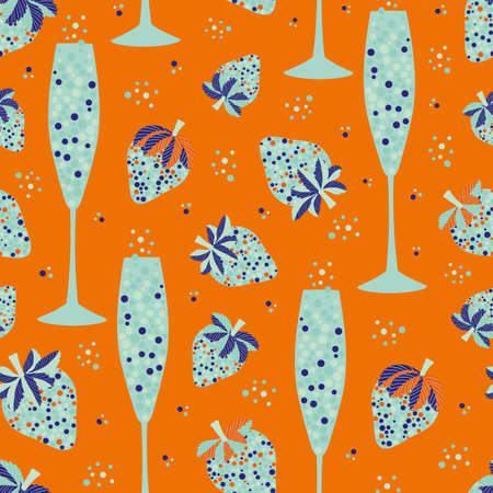 Abstract champagne and strawberry vector seamless pattern background. Neon orange light blue backdrop with fizz, champagne flutes, strawberries soft fruit. Tropical repeat for beach party concept