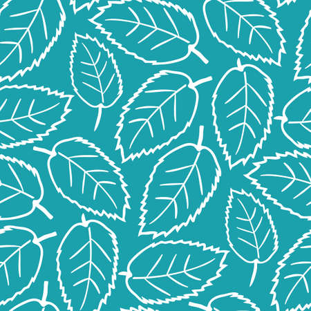 Elm leaf seamless vector pattern background. Hand drawn white line art single leaves on aqua blue backdrop. Dense botanical design. Multidirectional foliage repeat print for nature wellbeing concept