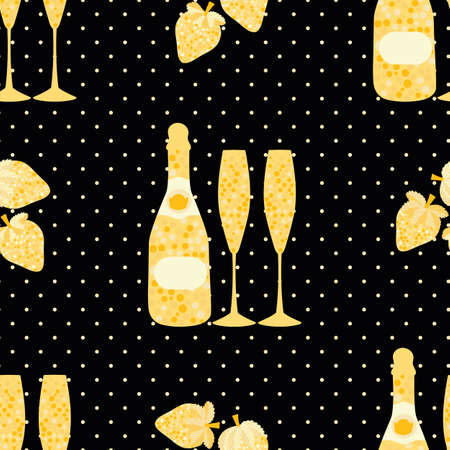 Champagne and strawberry vector seamless pattern background. Elegant gold black backdrop with fizz, champagne flutes,bottles, strawberries fruit, polka dots. Modern repeat for celebration concept