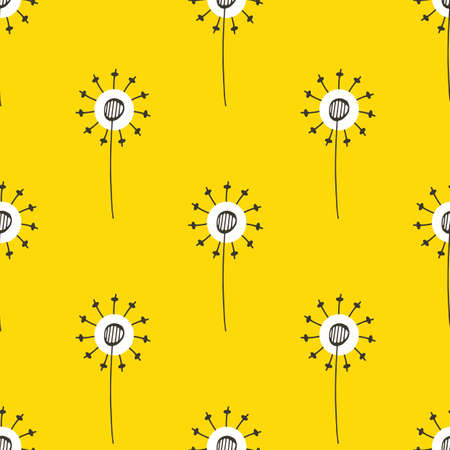 Dandelion seeds seamless vector pattern background. Abstract folk art style isolated herbacious garden or field flowers on stems yellow backdrop. Midcentury modern hand drawn botanical repeat