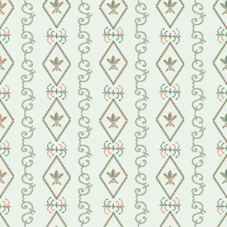 Vector fleur-de-lys diamond shape frames seamless pattern background. Columns of alternating royal french lilies and decorative swirls. Ochre silver ornate shapes on pastel sage green geometric repeat