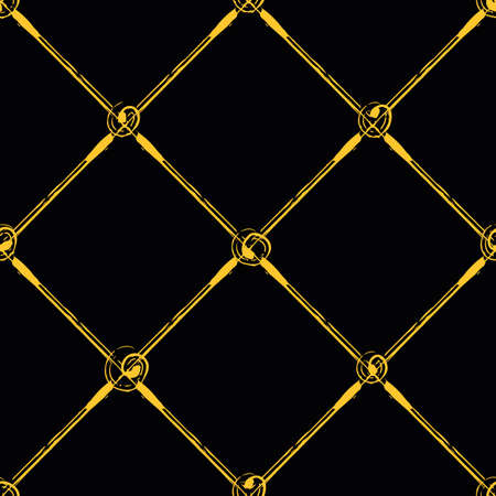 Vector painterly lattice braid weave and scribbled circle joints pattern. Seamless interlace background. Elegant criss cross gold black backdrop. Woven geometric elegant grid repeat for celebration