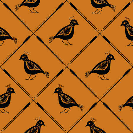 Stylized bird and diagonal grid seamless vector pattern background. Folk art or baroque style birds. Earthy ochre black backdrop with painterly criss cross lines. Historical effect geometric repeat