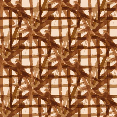 Vector braid effect damask weave seamless interlace pattern background. Macrame style ribbon plait lattice monochrome ochre backdrop. Geometric baroque grid knotwork. All over print for packaging