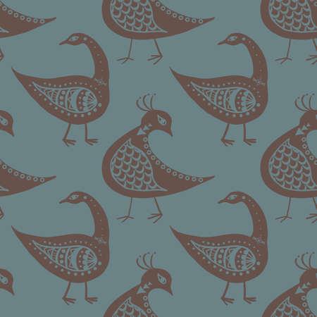 Stylized bird seamless vector pattern background. Mix of folk art and ancient Greece style birds teal grey brown backdrop. Historical effect geometric duotone design. Repeat for wellbeing concept