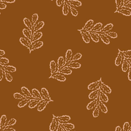 Oak leaf seamless vector pattern background. Calligraphy brush clusters of leaves warm ochre monochrome backdrop.Elegant outline design. Painterly style all over print for wellness.