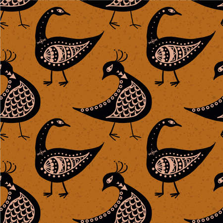 Stylized bird seamless vector pattern background. Inspired by ancient Greek pottery. Black birds on ochre burnt siena backdrop. Historical style geometric duotone design. Repeat for wellbeing concept 矢量图像