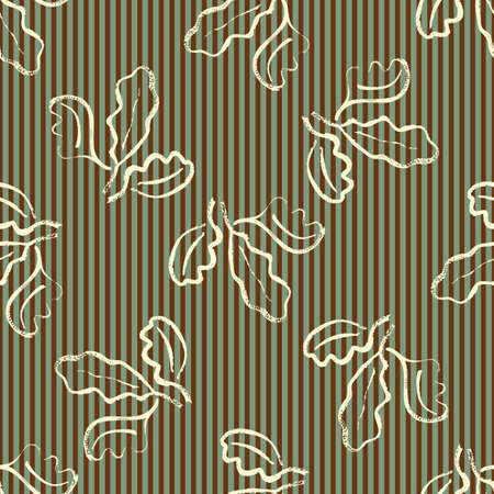 Oak leaf striped seamless vector pattern background. Simple calligraphy brush foliage clusters on sage green brown stripe backdrop. Minimal elegant outline design. Painterly style repeat for wellness 矢量图像