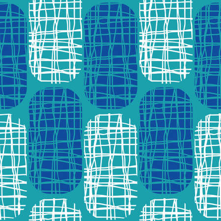 Irregular weave effect vector rectangles seamless pattern background. Backdrop with alternating columns of cobalt blue and white rounded coarsely woven shapes. Hessian fibre texture for beach concept 免版税图像 - 166908612