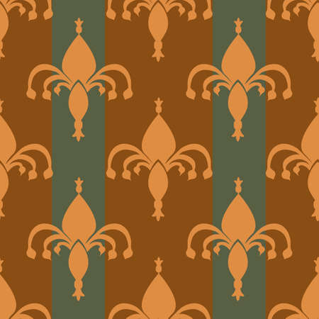 Fleur-de-lys striped vector seamless pattern background. Hand drawn ornamental shapes with vertical stripes sage green ochre backdrop.Royal French lily symbol. Regal modern geometric repeat