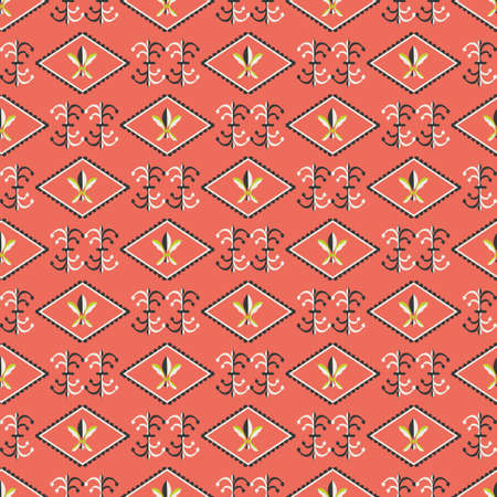 Vector fleur-de-lys diamond shape frames seamless pattern background. Rows of royal french lilies and decorative swirls. Vibrant coral red backdrop with ornate shapes. Geometric repeat for wellness 矢量图像