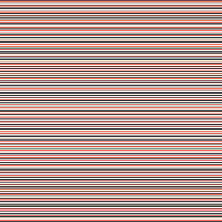 Vector seersucker dense striped seamless pattern background. Blue red white random horizontal pinstripe repeat backdrop. Nautical fabric style ticking design. Textural all over print