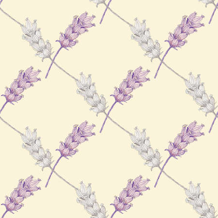 Lavender digital watercolor effect seamless vector pattern background. Damask style geometric backdrop with pink purple blossom florals. Botanical herb vintage design. Nature garden repeat for summer 免版税图像 - 167082754