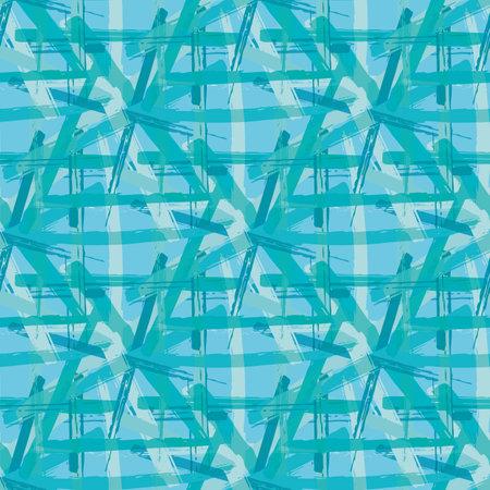 Vector braid effect damask weave seamless interlace pattern background. Macrame style ribbon plait lattice monochrome blue backdrop. Geometric modern knotwork weave texture. Repeat for packaging