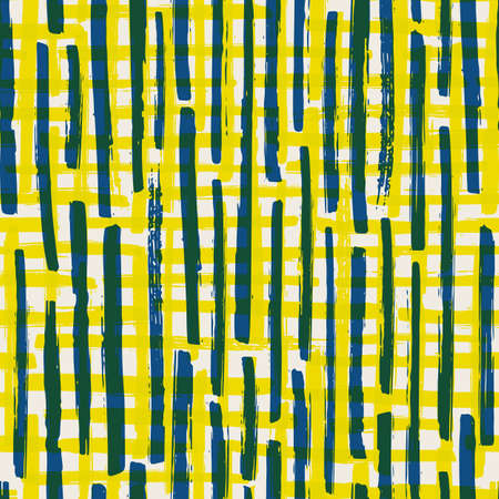 Vector painterly stripe plaid seamless pattern background. Organic brush stroke blend backdrop with vertical blue and horizontal yellow irregular stripes. Relaxed repeat for summer, beach, sport