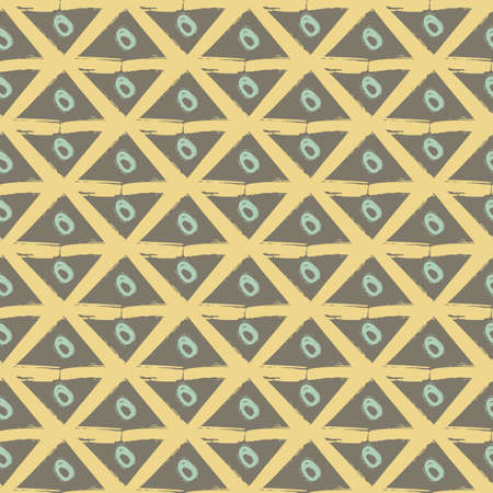 Vector painterly lattice braid weave and scribble circles. Seamless interlace pattern background.Macrame effect brown yellow blue backdrop. Woven geometric boho style grid repeat design for summer