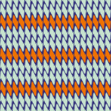 Zigzag weave knit vector seamless pattern background. Blue orange stripe effect herringbone backdrop. Alternating rows of woven ikat chevrons. Faux fabric texture. All over print for summer, beach 免版税图像 - 167082755