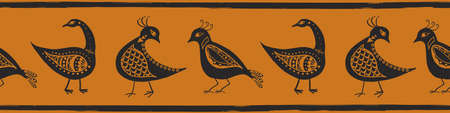 Stylized bird seamless vector border. Banner with mix of folk art or ancient history style birds and painterly stripe edging. Ochre black design for header, ribbon, museum exhibition, concept
