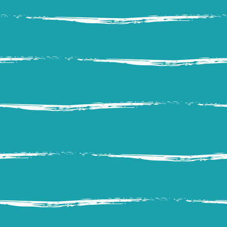 Wavy brush stroke striped abstract sea waves vector seamless pattern background. Undulating white wave lines on aqua blue background. Hand drawn uneven calligraphy brush style for marine, ocean
