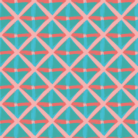 Vector braid effect weave seamless interlace pattern background. Macrame style ribbon plait lattice blue pink backdrop. Geometric modern wicker rattan grid knotwork. All over print for summer