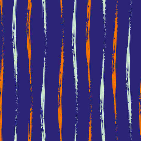 Wavy brush stroke striped vector seamless pattern background. Undulating painterly vertical alternating blue orange lines on indigo backdrop. Hand drawn uneven calligraphy brush style repeat 免版税图像 - 167082769