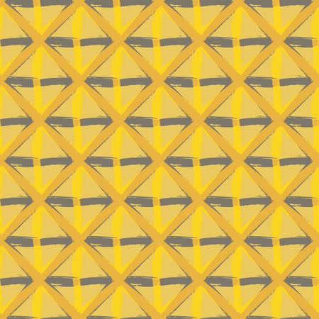 Vector braid effect weave seamless interlace pattern background. Macrame style ribbon plait lattice ochre yellow brown backdrop. Geometric modern wicker rattan grid knotwork. All over print for fall