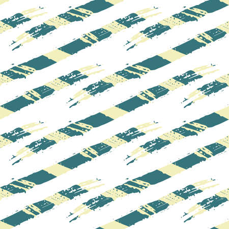 Vector abstract wicker weave effects seamless interlace pattern background. Painterly diagonal brush stroke lines lattice. Blended white blue yellow backdrop. Geometric grid repeat for summer 矢量图像
