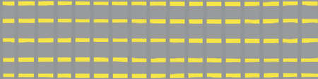 Modern paint brush graph grid vector seamless border. Ticking stripe style banner with painterly vertical and horizontal lines and stripes. Abstract yellow grey design for ribbon, edging header. 免版税图像 - 167146437