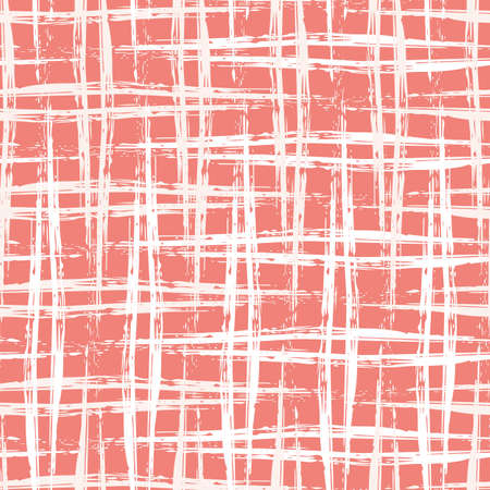 Vector burlap effect seamless pattern background. Red white coarse hessian fibre texture fabric style backdrop made with calligrapy brush. Woven cotton canvas design. Modern painterly weave repeat 矢量图像