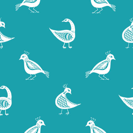 Stylized bird seamless vector pattern background. Inspired by ancient Greek pottery. Ornate white birds on aqua blue backdrop. Historical style diagonal duotone design. Repeat for wellbeing concept 免版税图像 - 167146439
