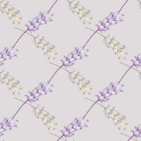 Lavender digital watercolor effect seamless vector pattern background. Damask style geometric lilac backdrop with yellow purple blossoms. Botanical herb vintage design. Nature garden repeat for summer